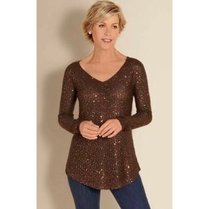 SOFT SURROUNDINGS Shimmer Sweater Knit Sequins M